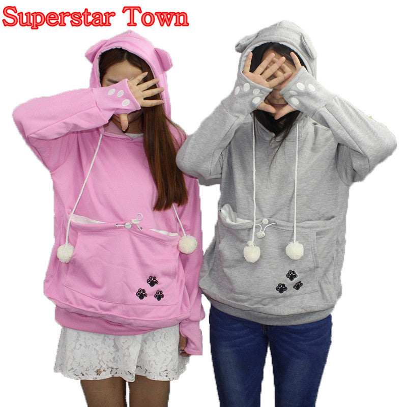 Cat Lovers Hoodies With Cuddle Pouch  Dog Pet Hoodies For Casual Kangaroo Pullovers With Ears Sweatshirt 4XL Drop Shipping - Jessikas Tops