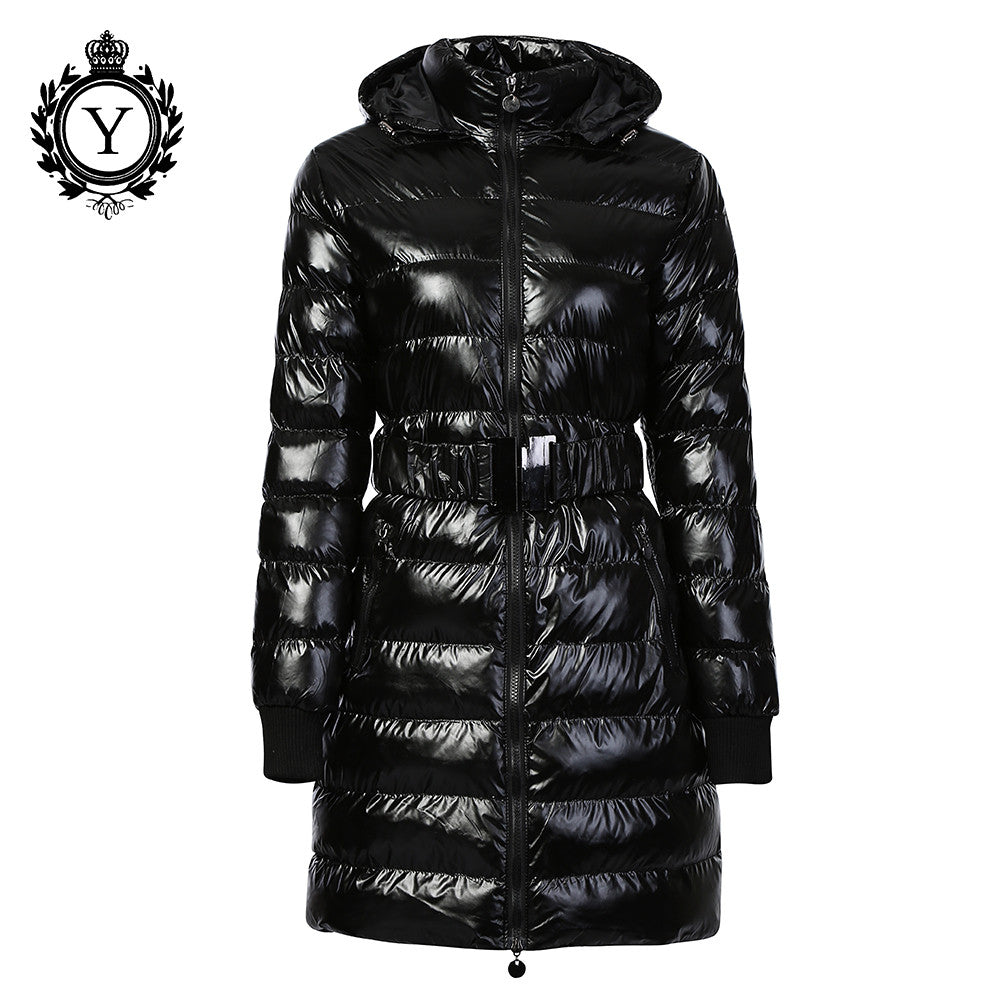 COUTUDI 2016 Long Women Clothing Winter Warm Jackets Shiny Solid Black Parkas Cotton Coats Female Waterproof Belt Parka Coats - Jessikas Tops