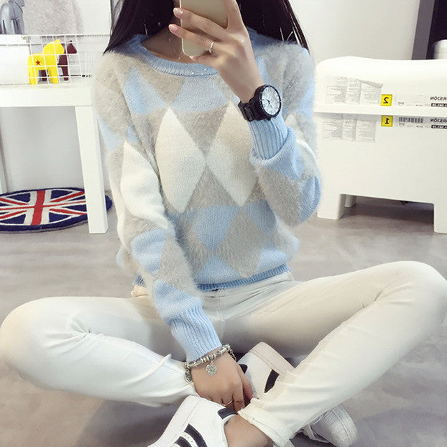 Brand Woman Sweater Pullover 2016 Autumn Winter Fashion Casual O-Neck Long sleeve Argyle Candy Pullovers Pull Femme Sweter Mujer - Jessikas Tops