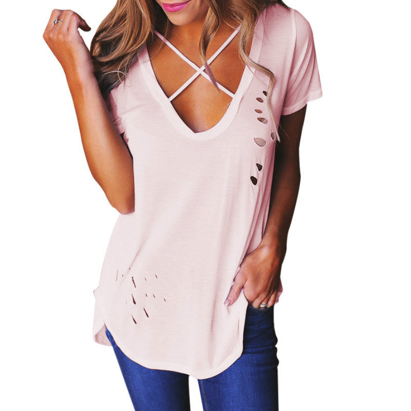 Sexy Holes Summer Women Sexy V-Neck Short Sleeve T-Shirts Solid Plus Size Cotton T Shirts Bandage Holes Loose Tee Tops GV542 - Jessikas Tops