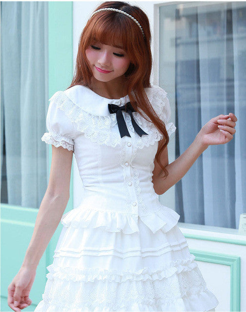 White/Black/Pink Puff sleeve Blouses for Women Lolita Peter pan collar Cos Cute Lace blouse Old-fashioned Female Girls Shirts - Jessikas Tops