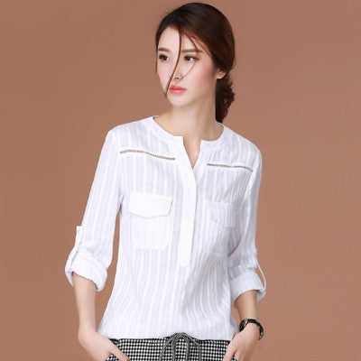 Shintimes Chemise Femme 2017 White Korean Clothes Women Blouse Ladies Office Shirts Woman Blouses Long Sleeve Blusas Feminina - Jessikas Tops