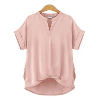 Casual Loose Tops Summer Tops Blusas Short Sleeve Stand Collar Shirt Solid Color Plus Size Women Blouses femininas TY4211 - Jessikas Tops