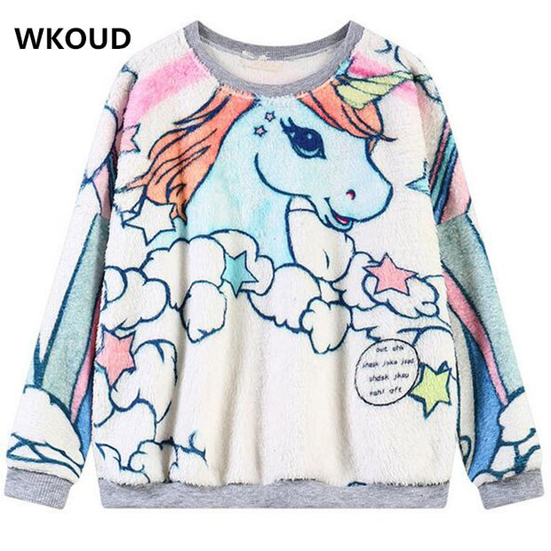 WKOUD Animal Unicorn Printed Hoodies Women Long-sleeve Pullovers Punk O-Neck Sweatshirts Spring Casual Wear WY0112 - Jessikas Tops