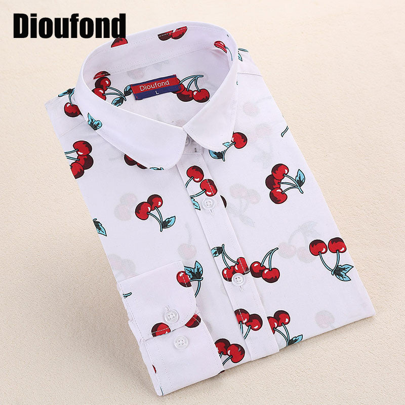 Dioufond New Floral Long Sleeve Vintage Blouse Cherry Turn Down Collar Shirt Blusas Feminino Ladies Blouses Womens  Tops Fashion - Jessikas Tops