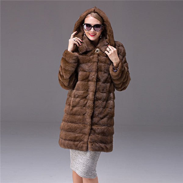 Customizable Women`s Real Mink fur Coat Thick Warm Coat Winter Outwear Natural Color Parka For Women`s Genuine Fur Coat  Female - Jessikas Tops
