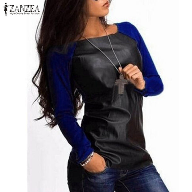 Blusas Femininas 2017 Autumn Women Shirts Long Sleeve PU Leather
