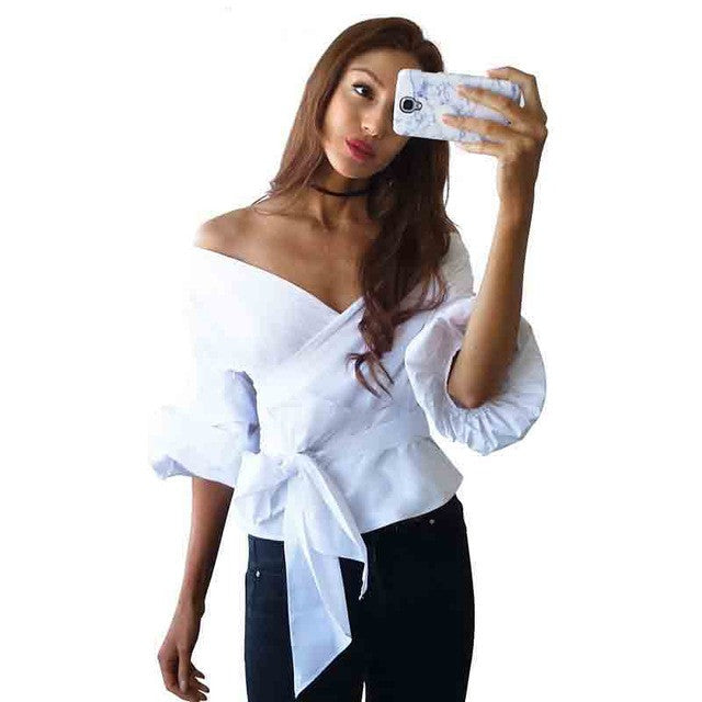 CHURSES ruffled off shoulder blouse shirt spring and summer sexy ruched sleeve cool blouse Women waist tie cotton top - Jessikas Tops