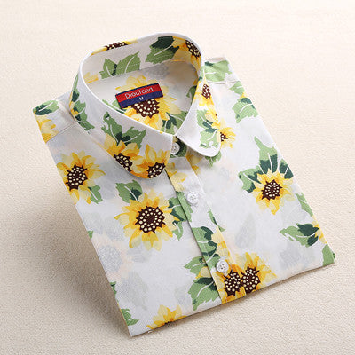 Dioufond Blue Navy Print Blouse Long Sleeve Sun flower Shirt Women Cotton Blouse Shirt Turn Down Collar Tops Spring 2017 New - Jessikas Tops