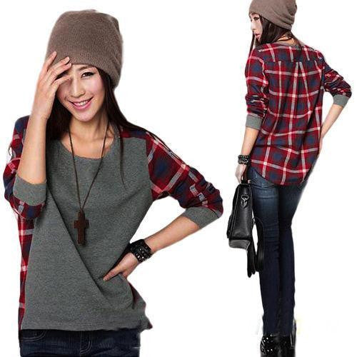 Fashion Women Ladies Plaid Checked Long Sleeve Casual Loose shirt Tops Blouse free  shipping - Jessikas Tops