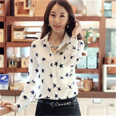 Brand New Women Blouses Turn Down Collar Floral Blouse Long Sleeve Shirt Women Camisas Femininas Ladies Summer Tops 2017 S054 - Jessikas Tops
