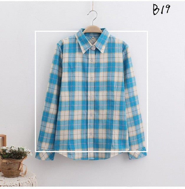 Laisiyi 2017 Fashion Summer Women Casual Plaid Shirts Cotton Turn-down Collar Long Sleeve Female Shirt Plus Size ASBL10009 - Jessikas Tops