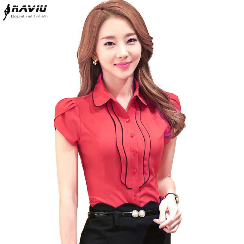 Elegant Women's Petal Sleeve shirt OL Formal slim laciness chiffon blouse office ladies plus size work wear tops S-4XL - Jessikas Tops