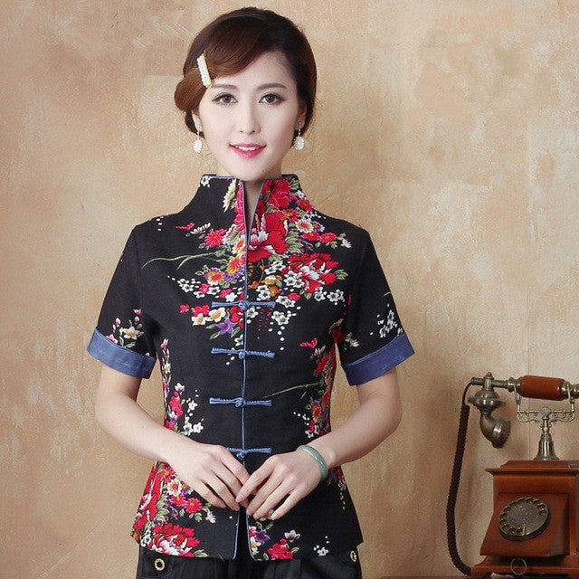 08c812e758b0 Hot Sale Red Traditional Chinese Blouse Women Cotton Linen Shirt Top V-Neck  Short Sleeves
