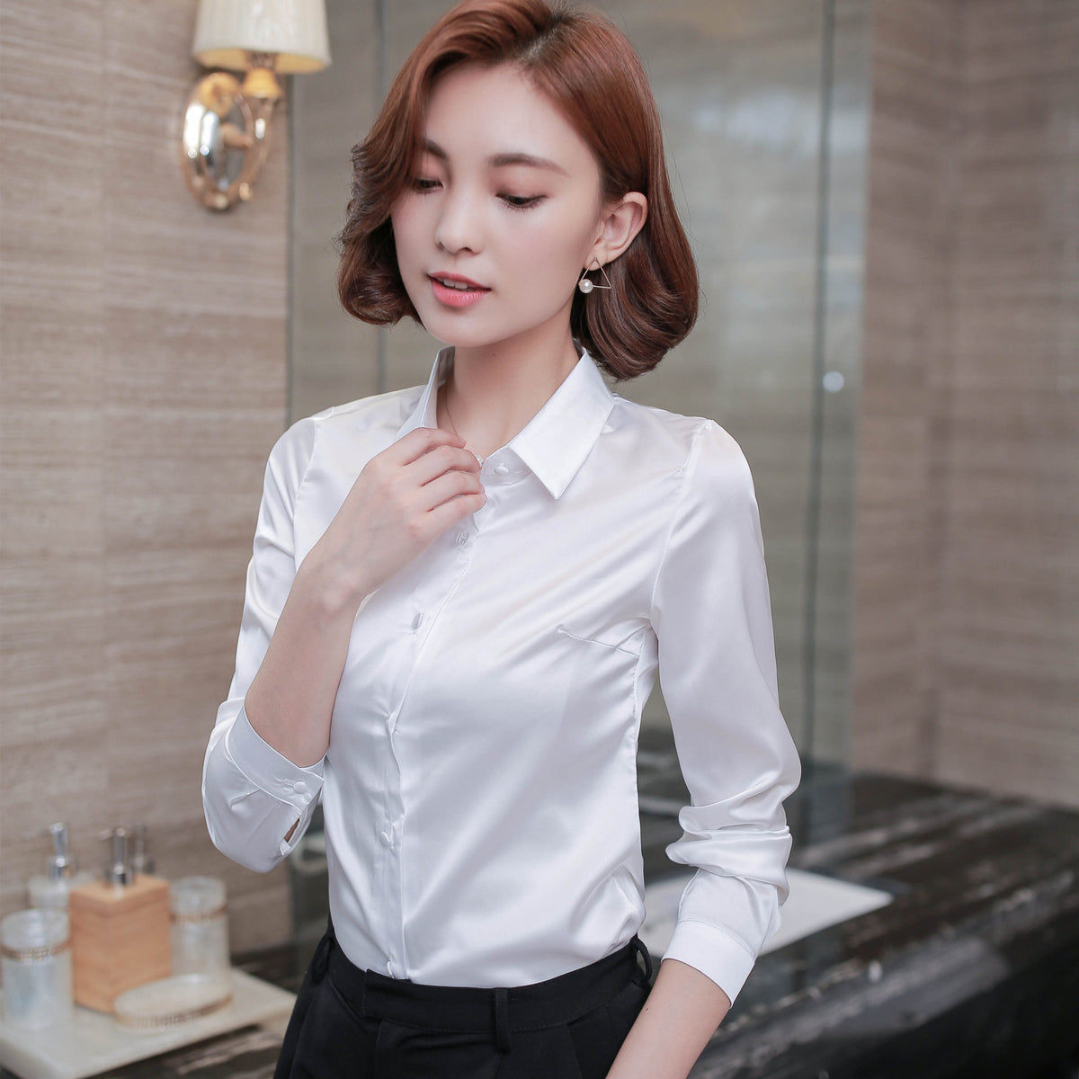 Plus Size 2016 New Autumn Women Shirts Full Sleeve Heavy  High-grade Silk Blouse Shirt White Light Grey 6452 - Jessikas Tops