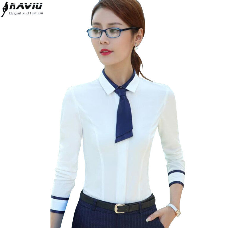 Shirt female long-sleeve 2017 spring fashion slim Patchwork bow tie women's white blouse office ladies plus size work wear tops - Jessikas Tops