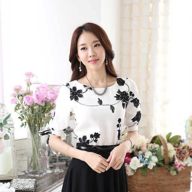 Women Shirts Summer Tops Floral Black Embroidery White Chiffon Blouses Half Sleeve Shirt Women Clothing Plus Size S-3XL - Jessikas Tops