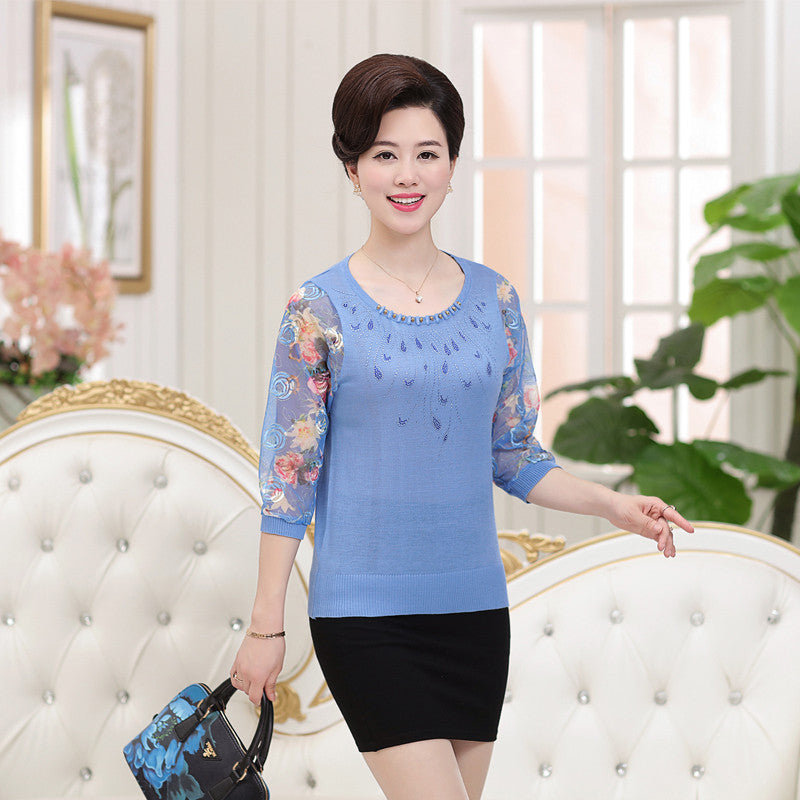 Summer thin models big yards women tops upscale silk sleeve blouse printing yarn-sleeve Exquisite workmanship loose blouse - Jessikas Tops