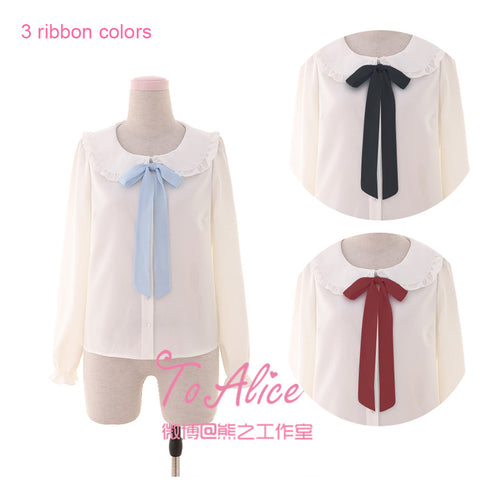 Ice Doll Series Cute Women's 3 Color Ribbon Bow Tie Lolita Blouse Peter Pan Dolly Collar White Shirt Long Sleeve Winter Tops - Jessikas Tops