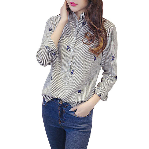 blusas femininas 2017 e camisas long sleeve women blouses cotton casual shirt women tops vetement femme plus size ropa mujer - Jessikas Tops