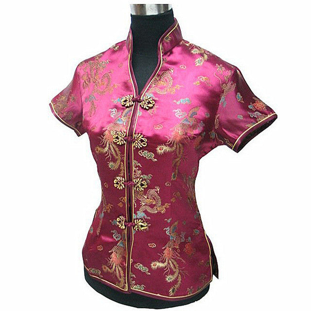 Burgundy Female Blouse Mujeres Camisa China Lady Satin Polyester V-Neck Shirt Tops Dragon Phenix Size S M L XL XXL XXXL JY044-2 - Jessikas Tops
