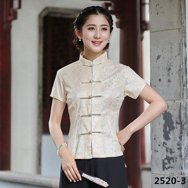Fashion Summer White Chinese Female Lace Blouse Lady Mandarin Collar Shirt Tops tang Clothing Size S M L XL XXL XXXL 2520-6 - Jessikas Tops