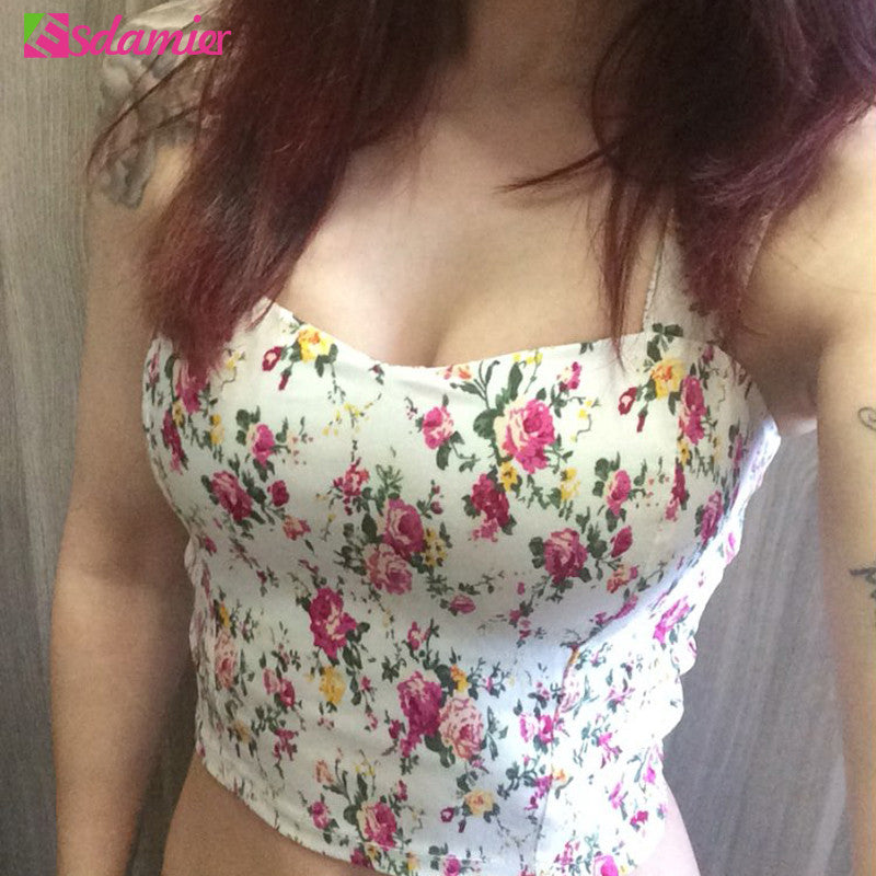 Brand New Wrapped Bustier Crop Top Summer Top Sexy Floral Padded Crop Tops Women Printing Women's Tank Top Cropped Femme - Jessikas Tops