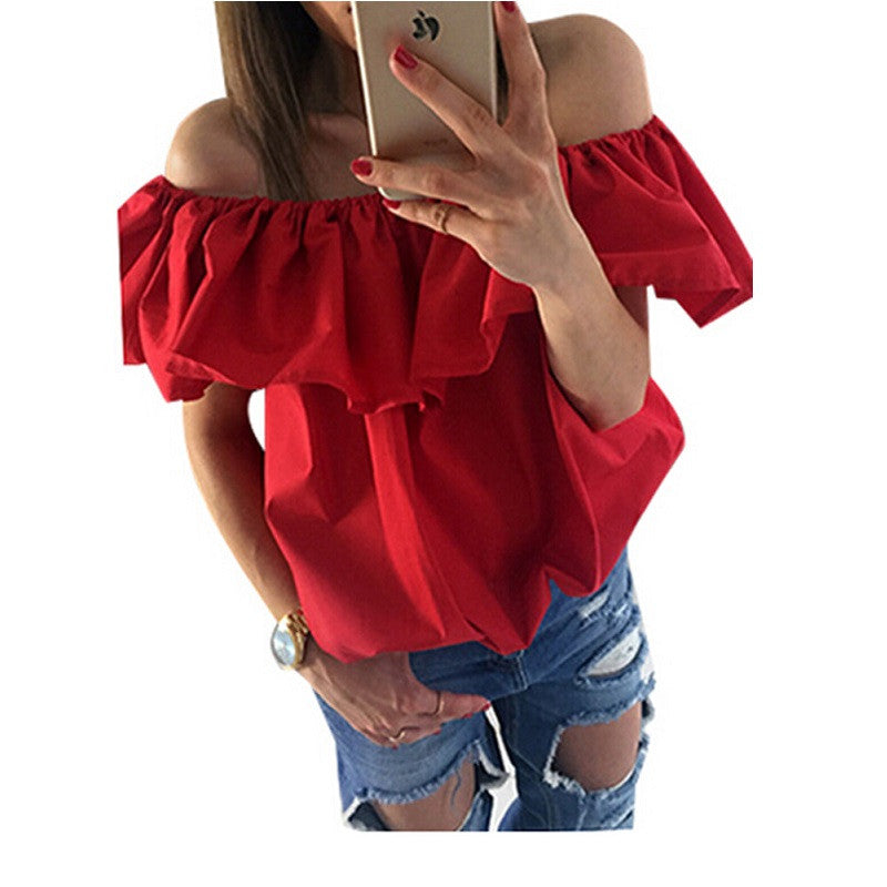 New Sexy  Women Blouses  off  the Shoulder Elastic Slash Neck Casual  Top Shirts Red Yellow - Jessikas Tops