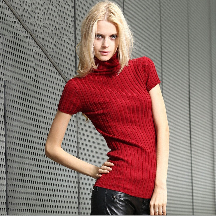 Brief Short Sleeve Pullovers Womens 2017 Brand New Designer European Turtleneck 14 Candy Colors Sexy Knitwear Knitted Sweaters - Jessikas Tops