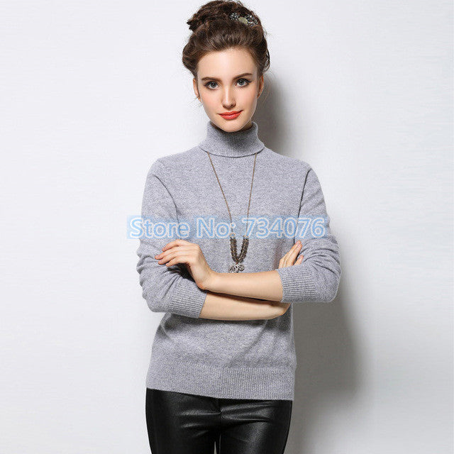 Cashmere Sweater Winter Womens Sweaters Fashion 2017 Autumn and Winter Womens Sweater and Pullovers Turtleneck Knitted Sweater - Jessikas Tops