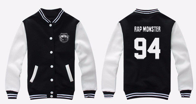 BTS Bangtan Boys baseball uniform Jung Kook jhope jin jimin v suga long sleeve jacket lady autumn hoodies fashion new arrival - Jessikas Tops
