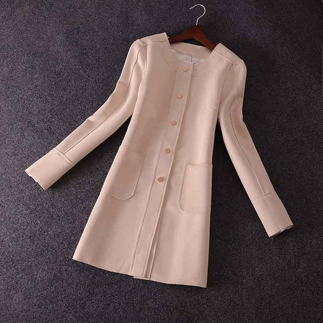 CLUXERCER Brand Trench Coat For Women Suede Coat Casual O-neck Leather Suede Trench Coat Women Outerwear Ladies Trench Coat - Jessikas Tops