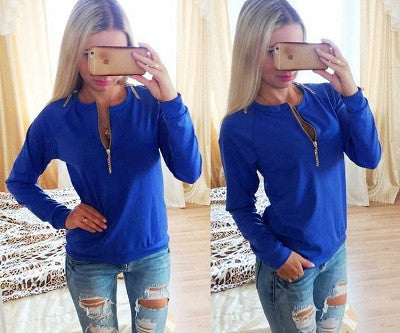 Casual Ladies V-Neck Long Sleeve Zip Hoodie Fashion Women Autumn Jumper Pullover Tops Female Sweatshirts - Jessikas Tops
