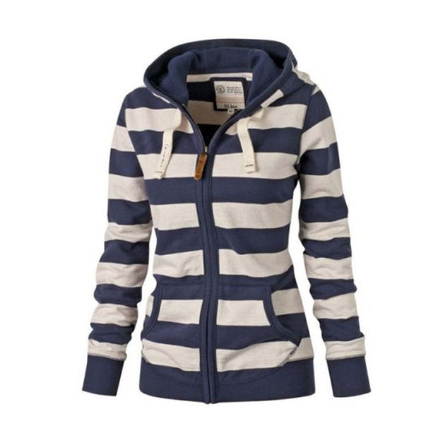 Women Striped Hoodies 2017 Autumn Winter Women Cotton Striped Zipper Hoodies Sweatshirt Casual Pullover Tops Polerones Mujer - Jessikas Tops