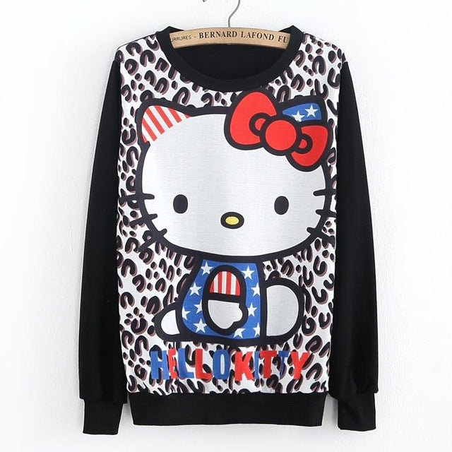 16 College Wind Women Hoodies Fashion Cartoon Panda Sweatshirts Casual