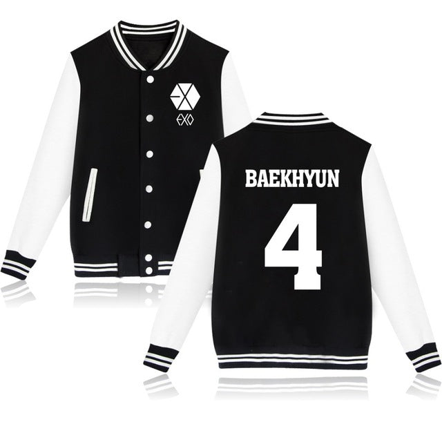 2016 Autumn & Winter Fashion EXO Fans Baseball Uniform Hip Hop Full