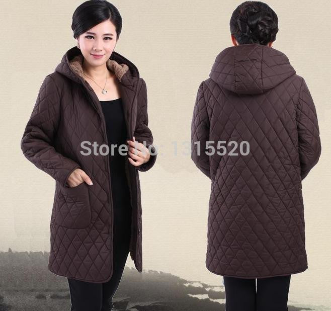 Coat Cotton winter new middle-aged women plus fertilizer to increase cotton velvet hooded winter coat jacket mother 91498 - Jessikas Tops
