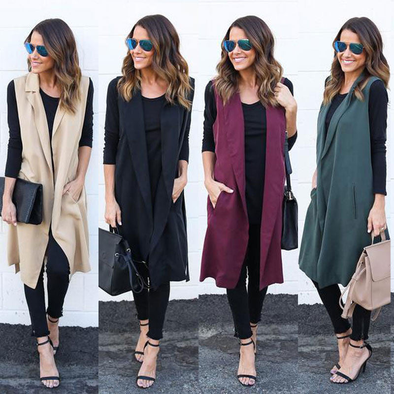 Fashion Women Casual Sleeveless Long Duster Coat Cardigan Suit Vest Waistcoat - Jessikas Tops