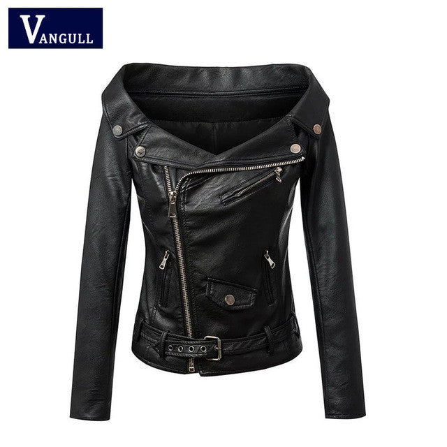 e24e36be7718 Woman Off shoulder faux leather jacket women motorcycle jacket 2016 ...