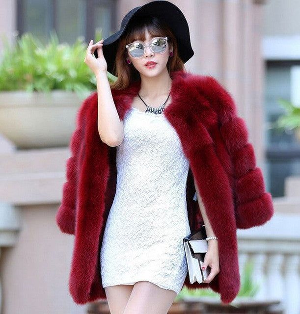 S-6XL Big Plus Size New Winter Women's Faux Fox Fur Coats Warm Good quality Free shipping Faux Fur Coats Female Outwear Overcoat - Jessikas Tops