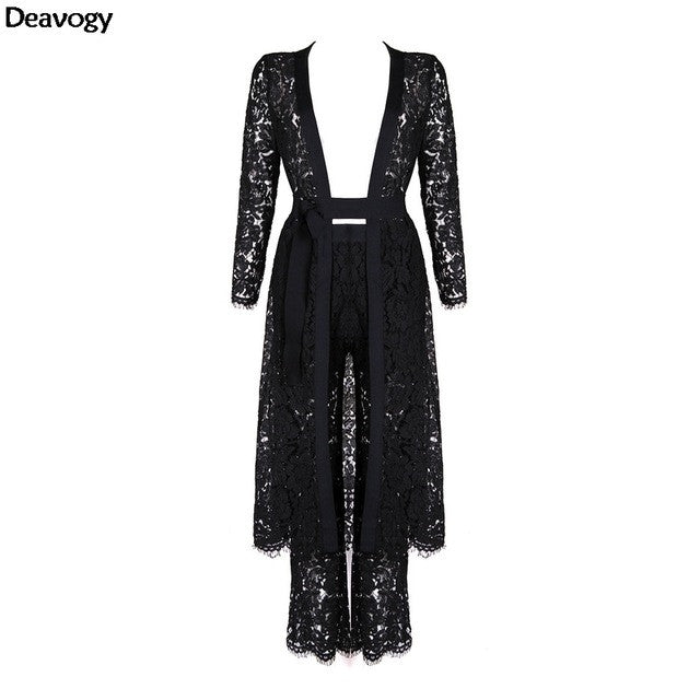 Deavogy 2016 Winter New Black Lace Long Sleeves Chic Duster Coat Casual Jacket Three Pieces Sets Hot Sale Good Quality H2684 - Jessikas Tops