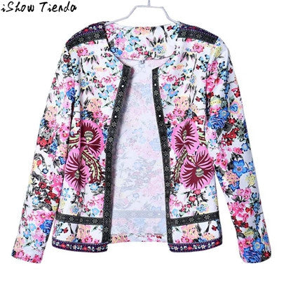 Bomber Jacket Multicolor Floral Printing Jeans Jacket Women Short Jacket Long Sleeve Outwear Cardigan Feminino #2815 - Jessikas Tops