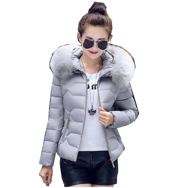 New Women Winter Jackets And Coats short section Parka Thick Warm Faux Fur Collar Hooded cotton coat loose big size cotton coat - Jessikas Tops