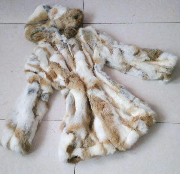 Free Shipping Genuine Rabbit Fur Coat with hood long rabbit fur jacket Women Winter Rabbit Fur Waistcoat 4XL plus size F630A - Jessikas Tops