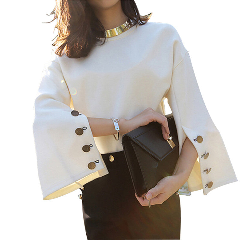 [CHICEVER] 2017 Spring Flare Sleeve Split O-neck Leather Pullovers Lady Women Sweater New Fashion Clothing - Jessikas Tops