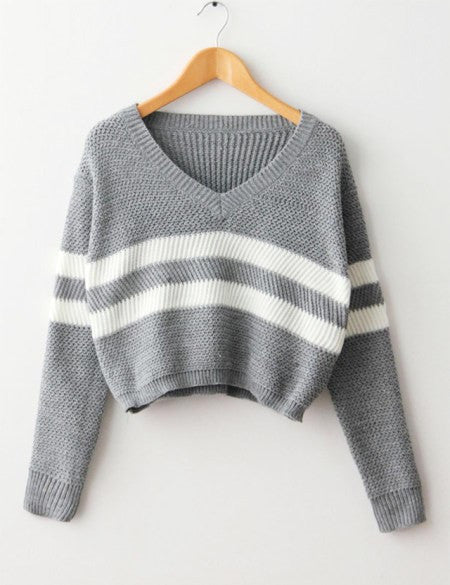 Crop Tops Autumn 2016 Women Sweater Striped Knitted Thin Pullover V-neck Loose Jumper Casual Short Sweater Tricot T5812 - Jessikas Tops