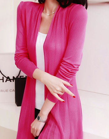 Candy Color Plus Size Casual Design Women Cardigan Long Sleeve Knitted Cardigans Ladies Summer Top Front Open Long Sweater S33 - Jessikas Tops