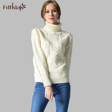 Women Turtleneck Long Sleeve Pullover Cashmere Sweater Ladies Sweaters Fashion Female Knitted Sweater Thick Warm Tops A280 - Jessikas Tops