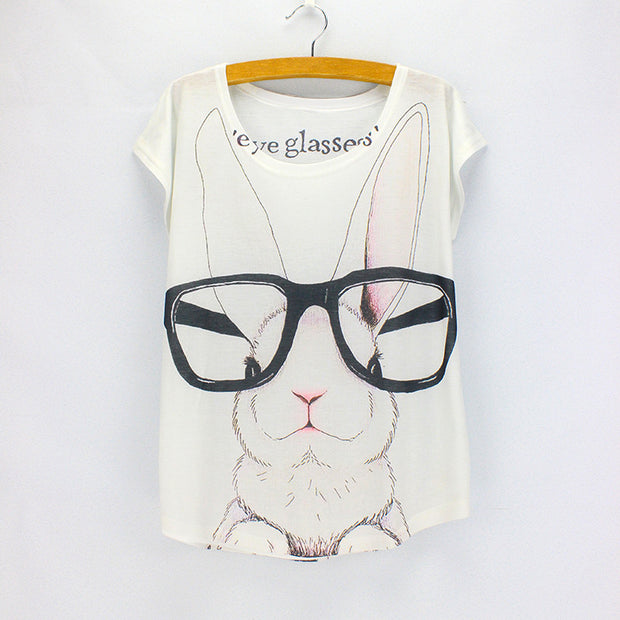 Fashion women t-shirts Big eyeglasses Rabbit pattern girls top tees