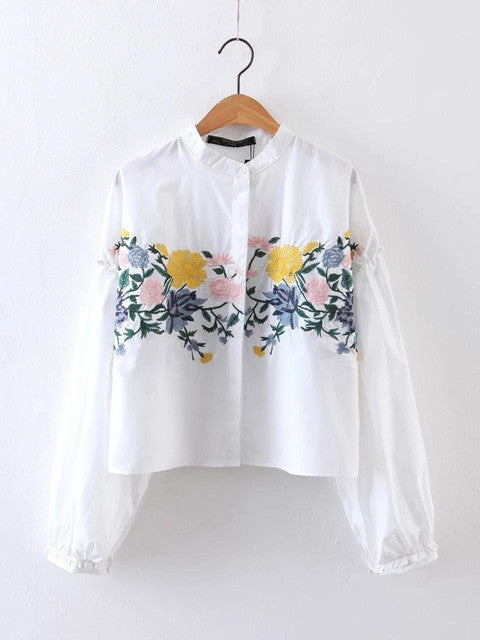 Brand Design 2017 women elegant flower embroidery shirt blouse brand small stand collar loose tops vintage button blusas LS1020 - Jessikas Tops